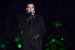 Host Antonio Sabato, Jr. speaks during the annual National Christmas Tree Lighting ceremony on the Ellipse in Washington, Wednesday, Nov. 28, 2018. President Donald Trump and first lady Melania Trump attended for the lighting of the tree.. (AP Photo/Susan Walsh)