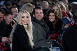From left, Tiffany Trump, the daughter of President Donald Trump, Donald Trump Jr. and Kimberly Guilfoyle, arrive ahead of President Donald Trump and first lady Melania Trump at the National Christmas Tree lighting ceremony at the Ellipse near the White House in Washington, Wednesday, Nov. 28, 2018. (AP Photo/Andrew Harnik)