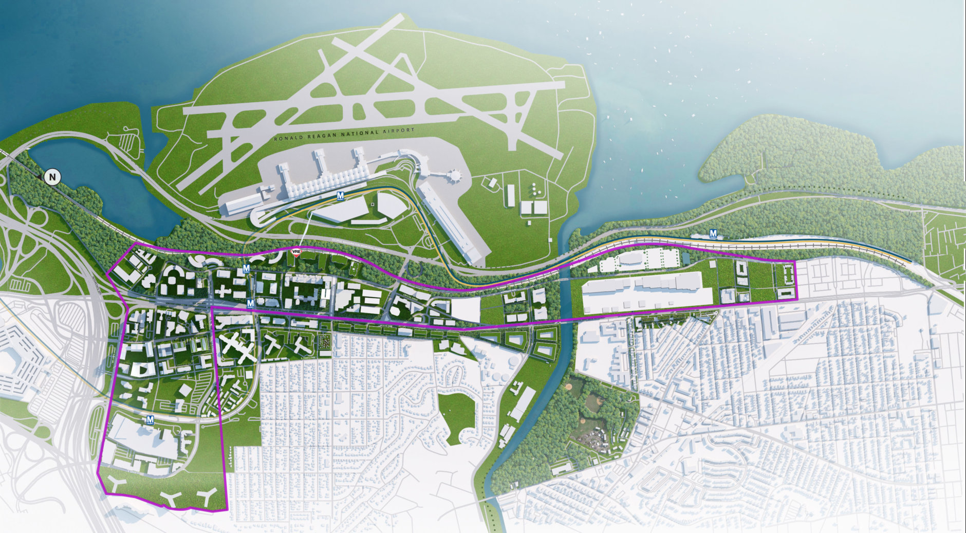 Aerial rendering of National Landing. (Virginia Economic Development Partnership)