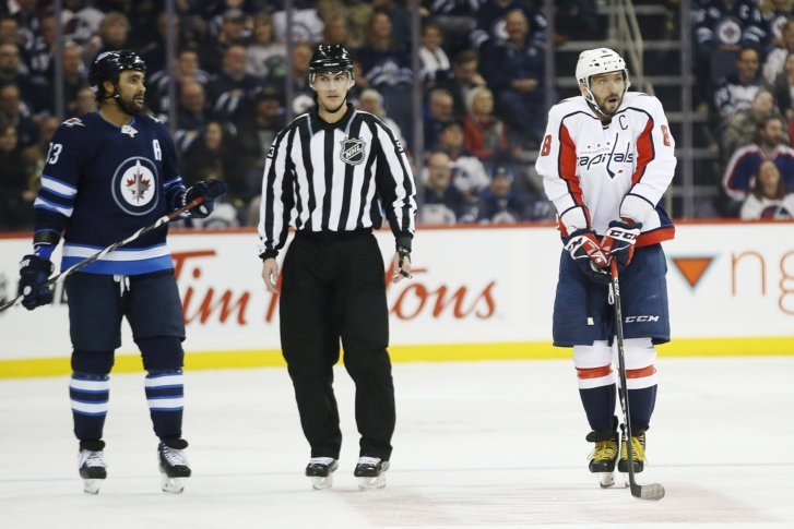 Washington Capitals  Alex Ovechkin (8) disputes his penalty against the  Winnipeg Jets as Jets Dustin Byfuglien (33) looks on during second period  NHL hockey ... 712683441