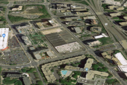 Some sleuthing in Google Maps appears to show the Amazon campus roughly centered in present-day Metropolitan Park, just west of Route 1 and across the street from the Costco in Arlington. (Google Maps)
