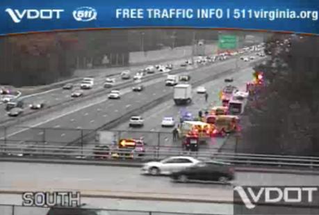 Vehicle fire engulfs RV on I-95
