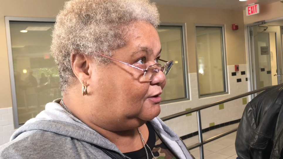 """Cherie Gibson is being transitioned from short-term housing at the hotel to an apartment. """"I'm on cloud nine right now!"""" she exclaimed. (WTOP/Kate Ryan)"""