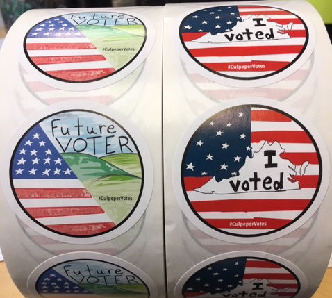The winning designs chosen by the Culpeper County Elections Board were designed by nine-year-old Natalie Nicholson and 12th-grader Jeffrey Maldonado. (Courtesy James Clements, Culpeper County)