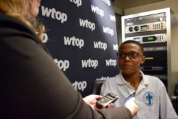 Sylvestre speaks with WTOP reporter Michelle Basch about what he's going to do with his prize money. (WTOP/Teta Alim)