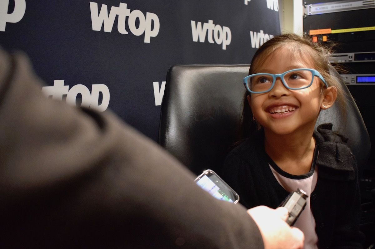 Basri tells WTOP's Michelle Basch that she wants to become a reporter, much like her mother. (WTOP/Teta Alim)