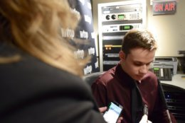 Friedrich tells WTOP's Michelle Basch that he has hopes to have a career in broadcasting. (WTOP/Teta Alim)