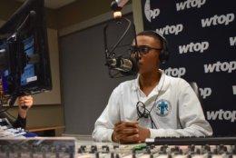 Sylvestre is laser-focused during his recording. (WTOP/Teta Alim)