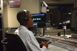 Sylvestre pauses during his recording in a WTOP studio. (WTOP/Teta Alim)