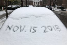 Snow covers car windshields in Northwest Washington, D.C.. (WTOP/Dave Dildine)
