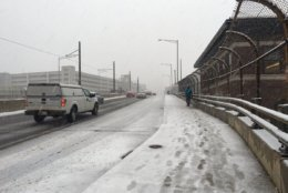 Conditions were slick on the Hopscotch Bridge in Northeast D.C. on Nov. 15. (WTOP/Sarah Beth Hensley)