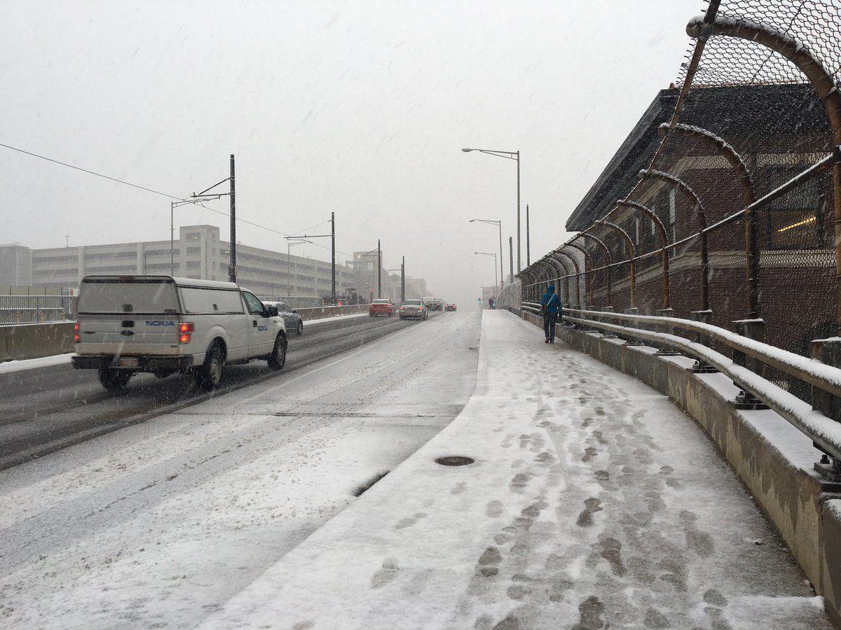 Conditions were slick on the Hopscotch Bridge in Northeast D.C. on Nov. 15. (WTOP/Sarah Beth Hensley)