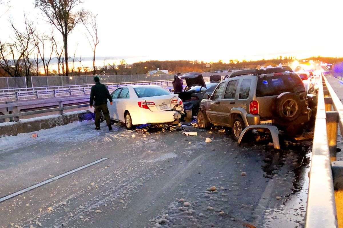 Nobody was hurt, but the icy overpasses on Gloucester Parkway is causing cars to slide into each other. (WTOP/Neal Augenstein)