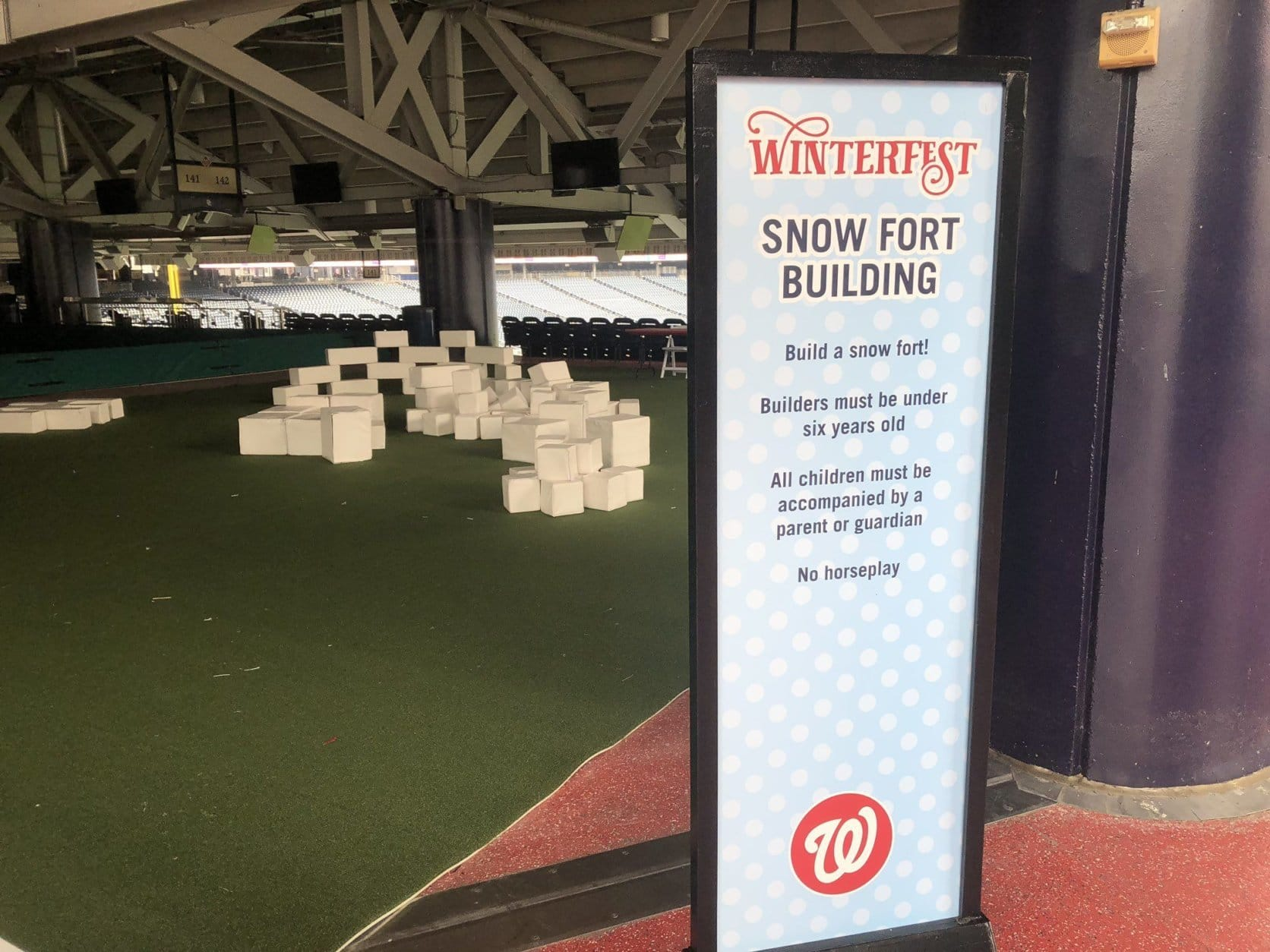 Other activities include racing the Racing Presidents and snow fort building. (WTOP/Mike Murillo)