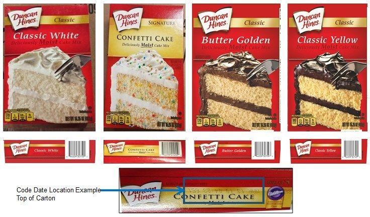 Recalled Duncan Hines cake mixes. (Courtesy Conagra Brands)