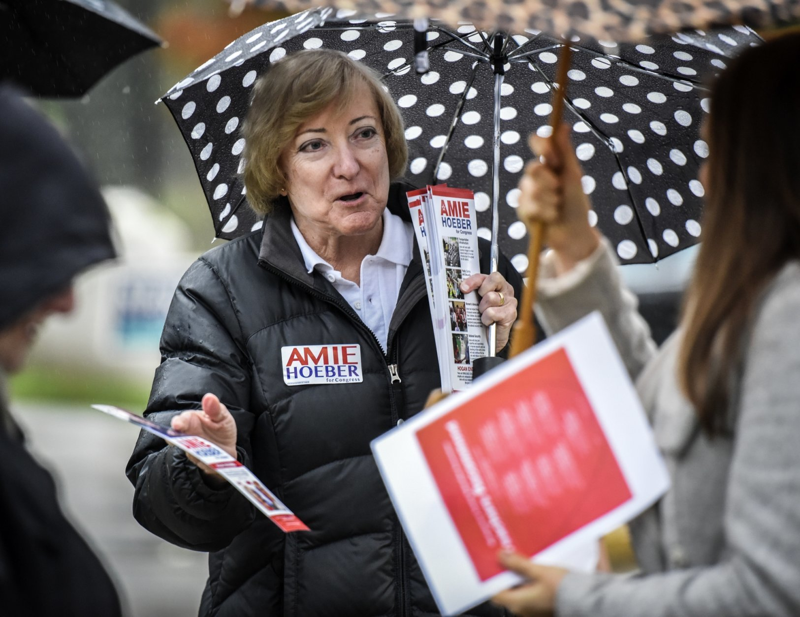 Maryland's 6th Congressional District candidate Amie Hoeber greets voters in front of a voting location Tuesday, Nov. 6, 2018, in Potomac, Md. David Trone, a Democrat and co-owner of a national wine store chain, is running against Hoeber, a Republican and national security consultant. (Bill O'Leary/The Washington Post via AP)
