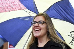 State Sen. Jennifer Wexton greets voters at Emerick Elementary School, Tuesday, Nov. 6, 2018, in in Purcellville, Va. Rep. Barbara Comstock is considered one of the most vulnerable incumbents in Congress. Comstock is facing Wexton, a former prosecutor. (Katherine Frey/The Washington Post via AP)