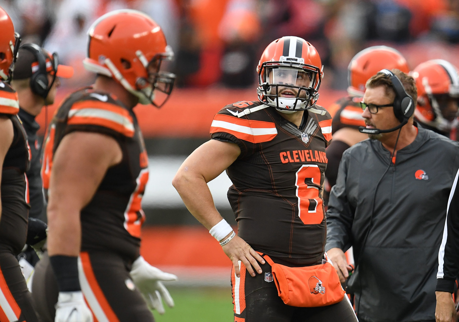 CLEVELAND, OH - NOVEMBER 04:  Baker Mayfield #6 of the Cleveland Browns reacts after throwing an interception during the fourth quarter against the Kansas City Chiefs at FirstEnergy Stadium on November 4, 2018 in Cleveland, Ohio. (Photo by Jason Miller/Getty Images)