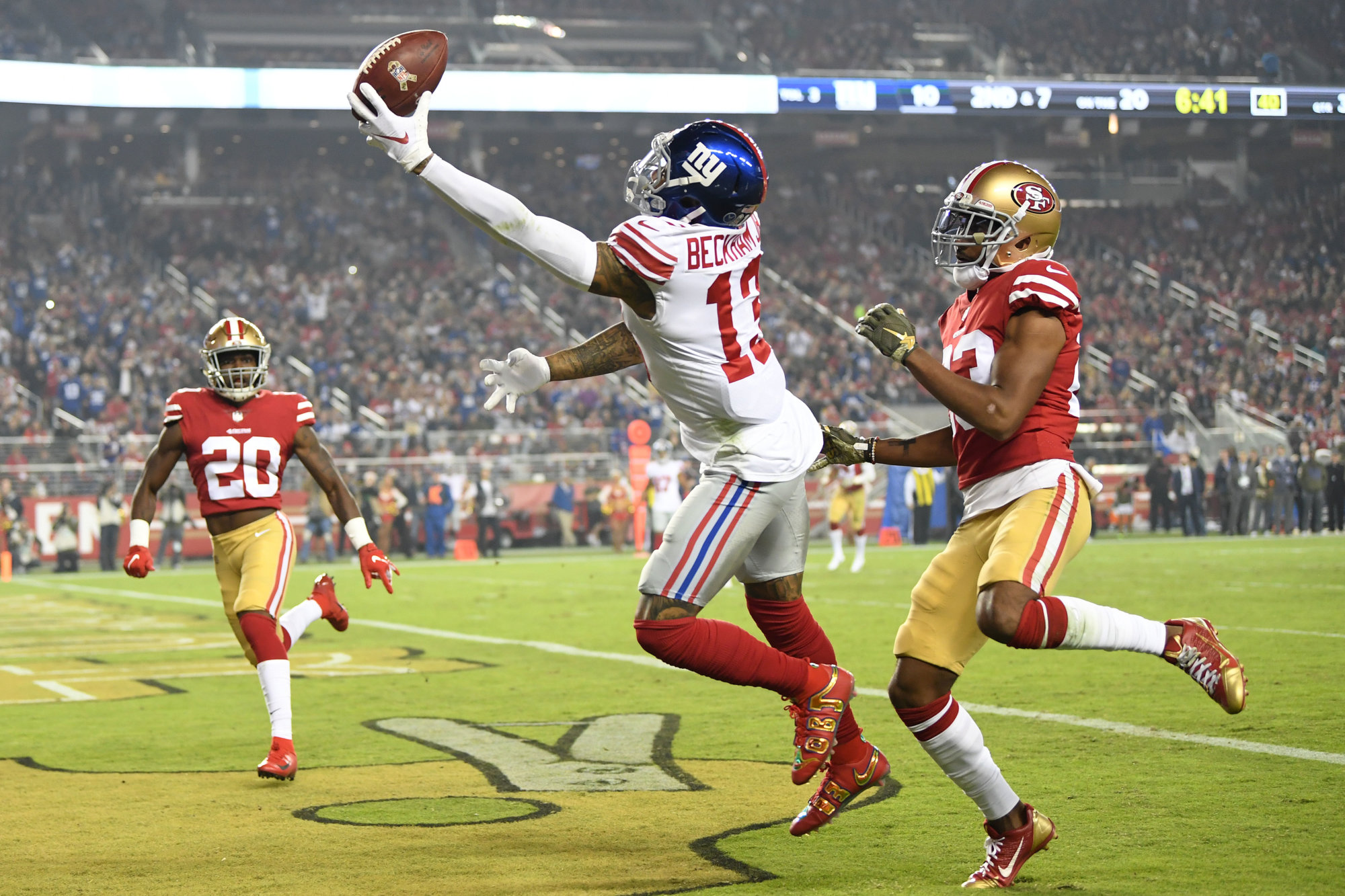 SANTA CLARA, CA - NOVEMBER 12: Odell Beckham #13 of the New York Giants is unable to make a catch against the San Francisco 49ers during their NFL game at Levi's Stadium on November 12, 2018 in Santa Clara, California. (Photo by Thearon W. Henderson/Getty Images)