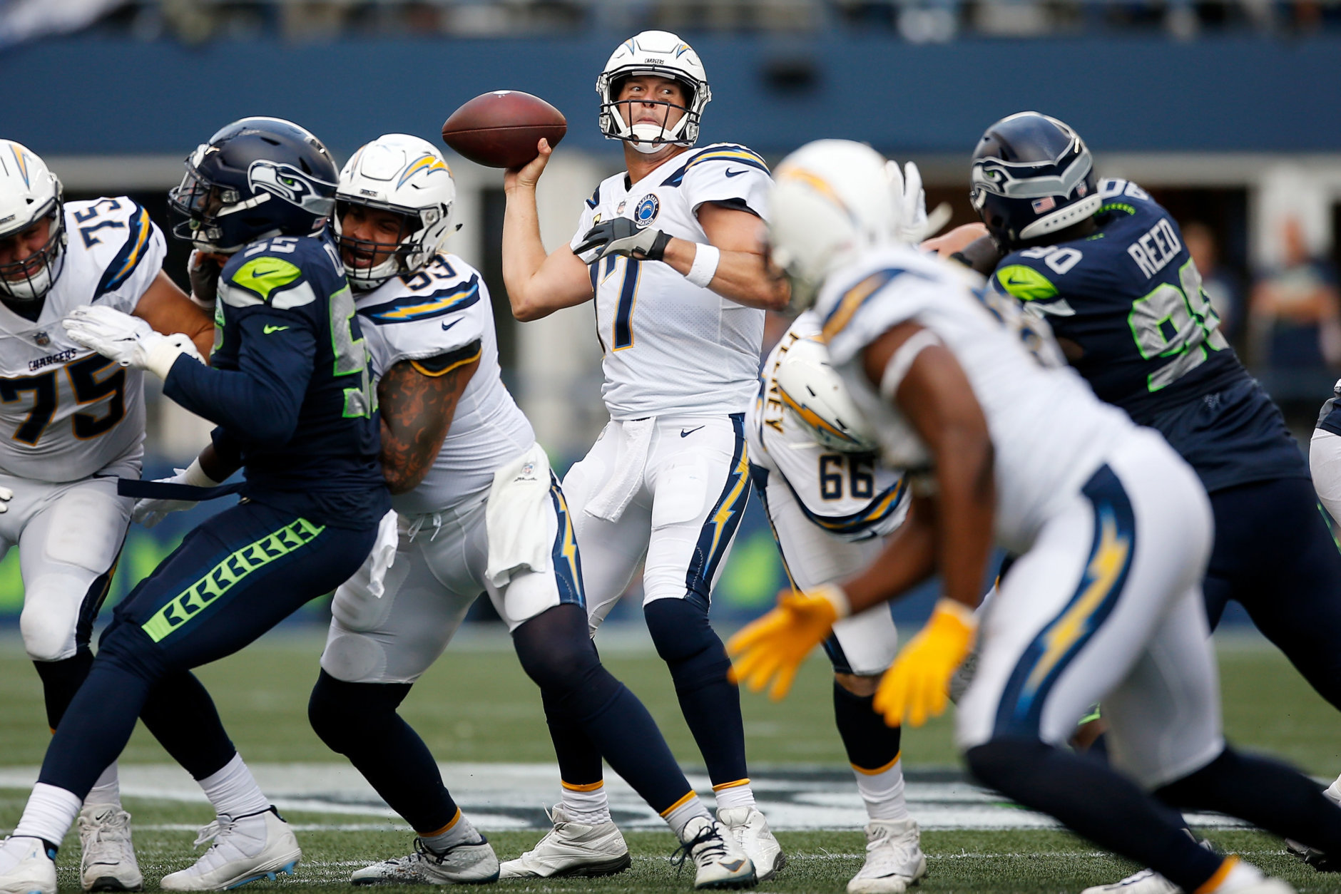 SEATTLE, WASHINGTON - NOVEMBER 04:  Philip Rivers #17 of the Los Angeles Chargers throws a pass in the second quarter against the Seattle Seahawks at CenturyLink Field on November 04, 2018 in Seattle, Washington. (Photo by Otto Greule Jr/Getty Images)