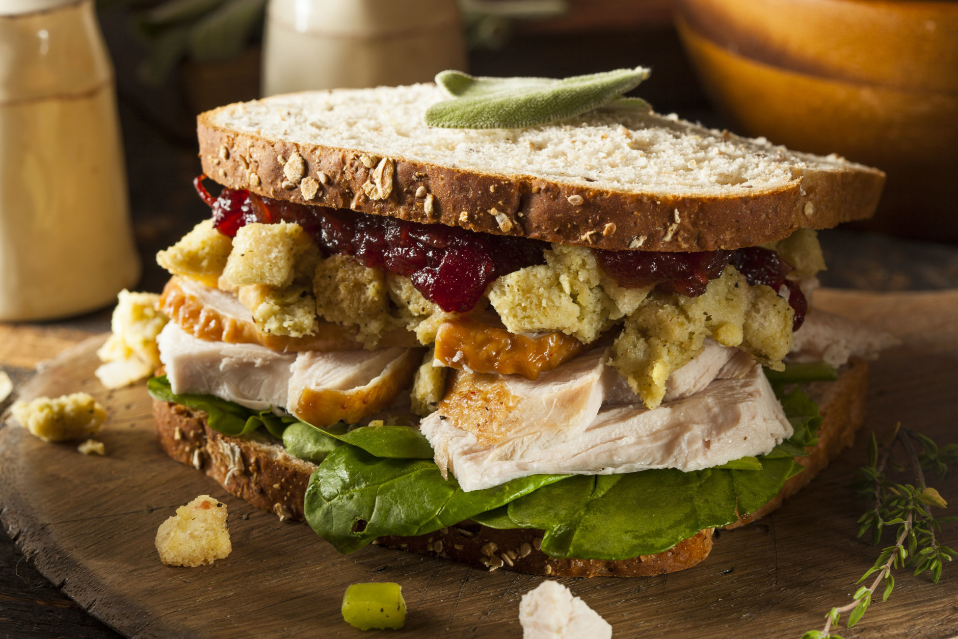 Homemade Leftover Thanksgiving Dinner Turkey Sandwich with Cranberries and Stuffing