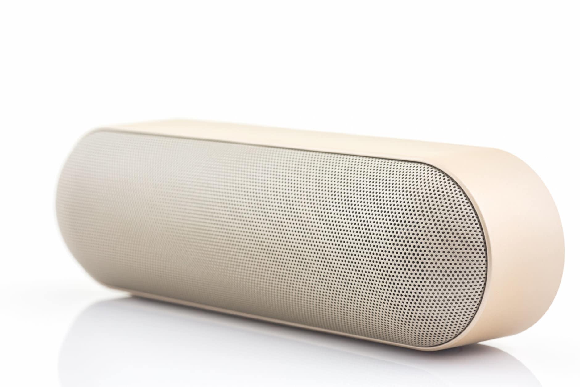 Wireless speaker for mobile phone, Speaker for smartphone on white background.