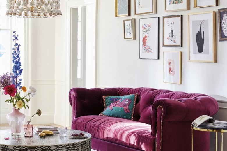 This Undated Photo Provided By Anthropologie Shows The Atelier Chesterfield A Chic Option With Rich Mulberry Hue Velvet Upholstery And Deep Comfy