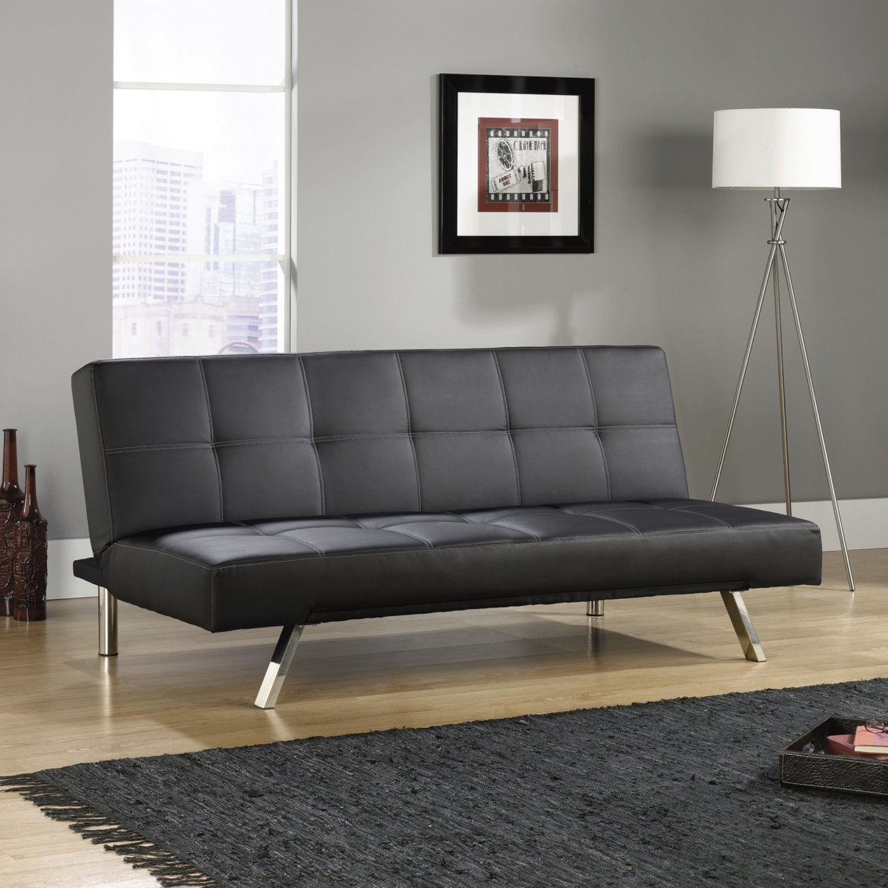 This undated photo shows Sauder's armless Cooper sofa, a good option for a tight space where you want furniture with a smaller footprint and room to get around. (Sauder via AP)