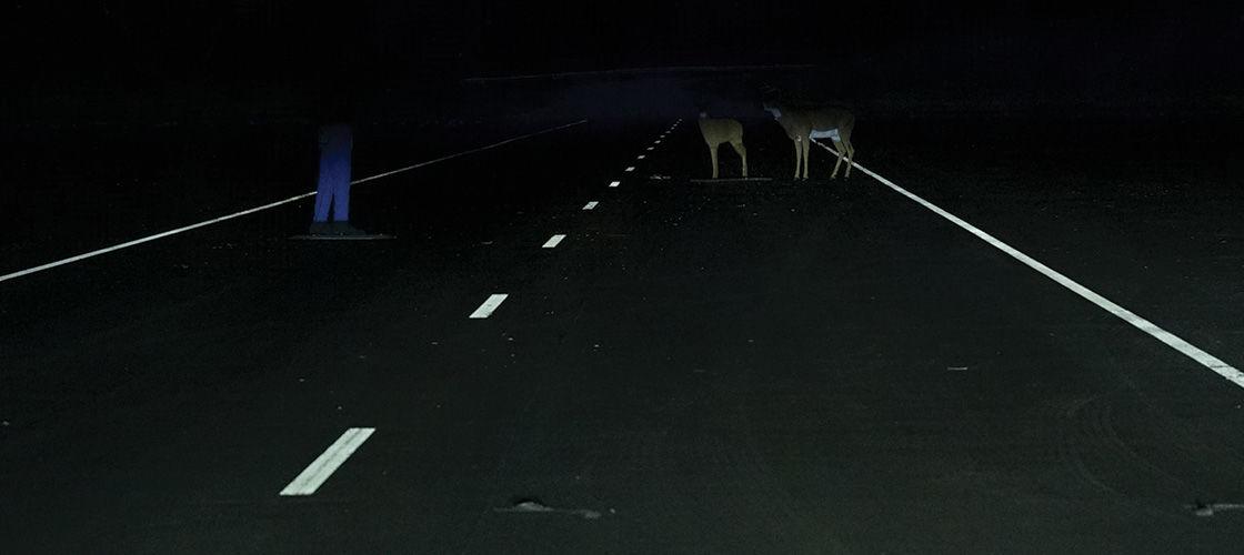 """Good"" LED projector headlights on the Hyundai Kona. (Courtesy IIHS)"