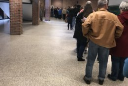 The line to vote at Woodbridge High School on the afternoon of Nov. 6, 2018. (Courtesy Jennifer Bridges)