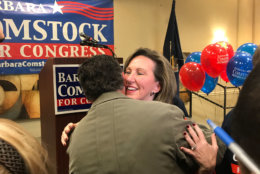 Virginia 10th District House Rep. Barbara Comstock hugs a supporter Tuesday night, when she lost her re-election bid to Jennifer Wexton. (WTOP/Kyle Cooper)