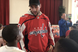 """The Stanley Cup champions were happy to help. """"We're just a small piece of it. We're happy to be here, and make it a fun day, and give them a big surprise,"""" Wilson said. (WTOP/Kristi King)"""