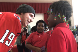 The three Caps players were at Hendley Elementary School in Southeast D.C. on Tuesday, Nov. 20, 2018. (WTOP/Kristi King)