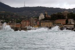 A view of Portofino, Italy, Thursday, Nov. 1, 2018 as rainstorms and strong winds have been battering the country. A falling chestnut tree has crushed a car in mountainous northwest Italy, killing 2 people inside, as rainstorms and strong winds pummel the country. Storm damage also cut off roads to the tourist port town of Portofino. (Beppe Risso/ANSA via AP)