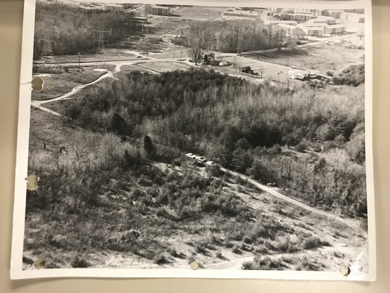 A 1972 aerial police photo of the area where the unidentified woman was killed. (Courtesy Prince George's County Police Department)