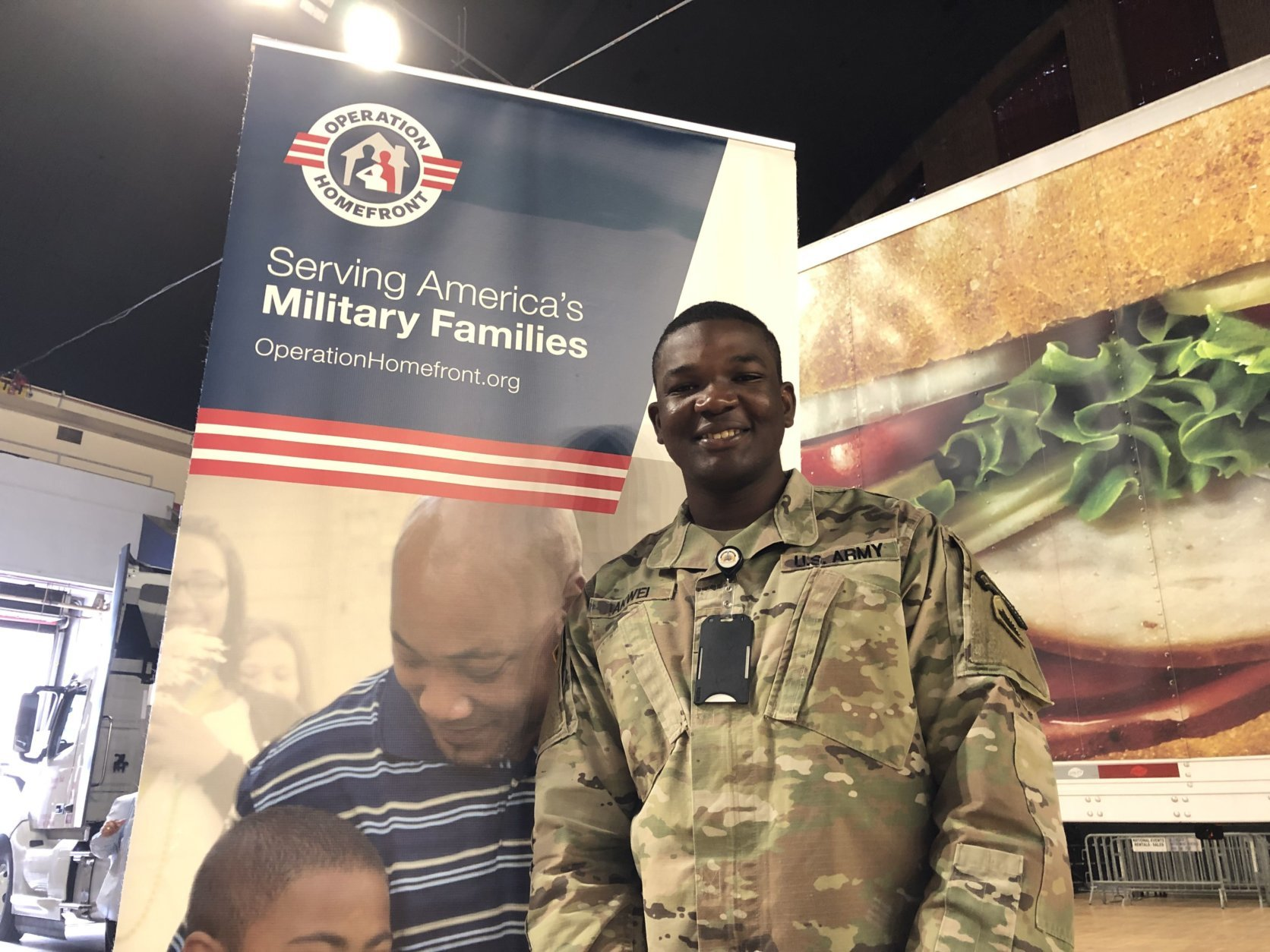 """We know that people really care about what we do,"" D.C. National Guard Spec. Emmil Akwei said of the event. ""It's a very nice way that people really show their appreciation to us, so that's really good."" (WTOP/Kristi King)"