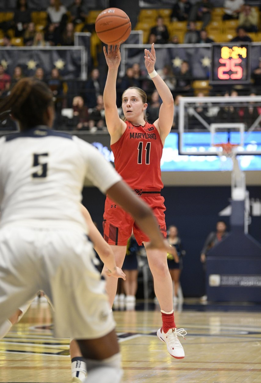 Maryland guard Taylor Mikesell (11) shoots in front of George Washington forward Chyna Latimer (5) during the first half of an NCAA college basketball game, Wednesday, Nov. 14, 2018, in Washington. (AP Photo/Nick Wass)