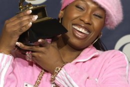 "FILE - In this Feb. 23, 2003 file photo, Missy Elliott holds the Grammy for best female rap solo performance for the song ""Scream a.k.a. Itchin'"" at the 45th Annual Grammy Awards in New York. Elliott, one of rap's greatest voices and also a songwriter and producer who has crafted songs for Beyonce and Whitney Houston, is one of the nominees for the 2019 Songwriters Hall of Fame. (AP Photo/Kathy Willens, File)"