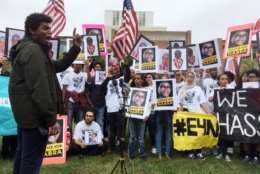 FILE - In this Oct. 13, 2018, file photo, hundreds of friends and supporters of Nabra Hassanen, who was killed by a northern Virginia man, hold a rally outside the Fairfax County Courthouse in Fairfax, Va. A change-of-plea hearing has been set for Wednesday morning in Fairfax for Darwin Martinez-Torres of Sterling who has been charged in Hassanen's death. He is charged with capital murder in the 2017 slaying of 17-year-old Nabra Hassanen, who was killed as she walked back to a mosque with friends after a fast-food meal ahead of pre-dawn Ramadan services. (AP Photo/Matthew Barakat)