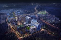 National Landing will be in Arlington and Alexandria. The Amazon campusis roughly centered in present-day Metropolitan Park, just west of Route 1 and across the street from the Costco in Arlington. (Courtesy Virginia Economic Development Partnership)