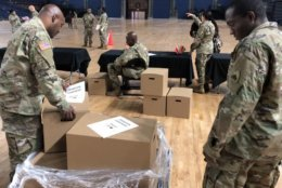 Operation Homefront distributed 400 holiday meals to D.C. National Guard military families on Monday, through the Holiday Meals for Military program. (WTOP/Kristi King)