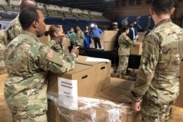 National Guard members E-9 and below can make requests to receive the donated meals. (WTOP/Kristi King)