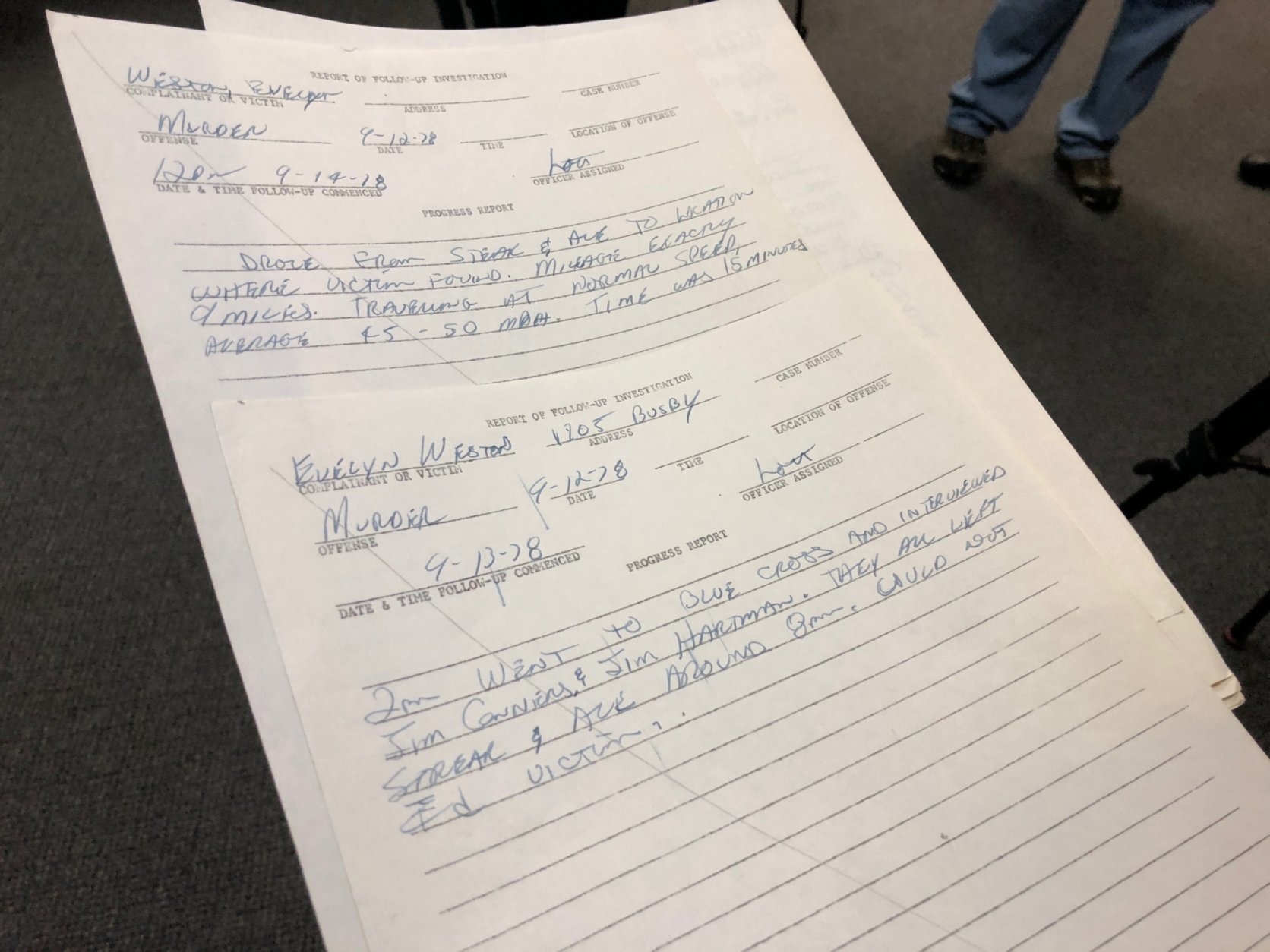 Richland County Sheriff Leon Lott's handwritten notes from the 1978 killing of Evelyn Weston are shown Wednesday, Nov. 21, 2018, in Columbia, South Carolina. Weston was likely killed by Samuel Little, who investigators say has confessed to as many as 90 killings across the United States. Lott was a rookie investigator assigned Weston's death and said he never forgot the case.  (AP Photo/Jeffrey Collins)