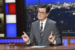 """This Nov. 6, 2018 photo released by CBS shows host Stephen Colbert on the set of """"The Late Show with Stephen Colbert"""" in New York. A think tank that has studied the content of late-night comedy for the past 26 years says Trump was the butt of more jokes in 2017 than any other public figure has for a single year. By a lot. The Center for Media and Public Affairs at George Mason University, which released a study on Friday, said the record-holder before that was President Clinton in 1998, the year of Monica Lewinsky. (Scott Kowalchyk/CBS via AP)"""