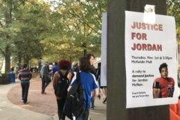 At the College Park campus, University of Maryland students gathered Thursday afternoon at the steps of an administrative building to remember student-athlete Jordan McNair and to share competing calls to action. (WTOP/Michelle Basch)