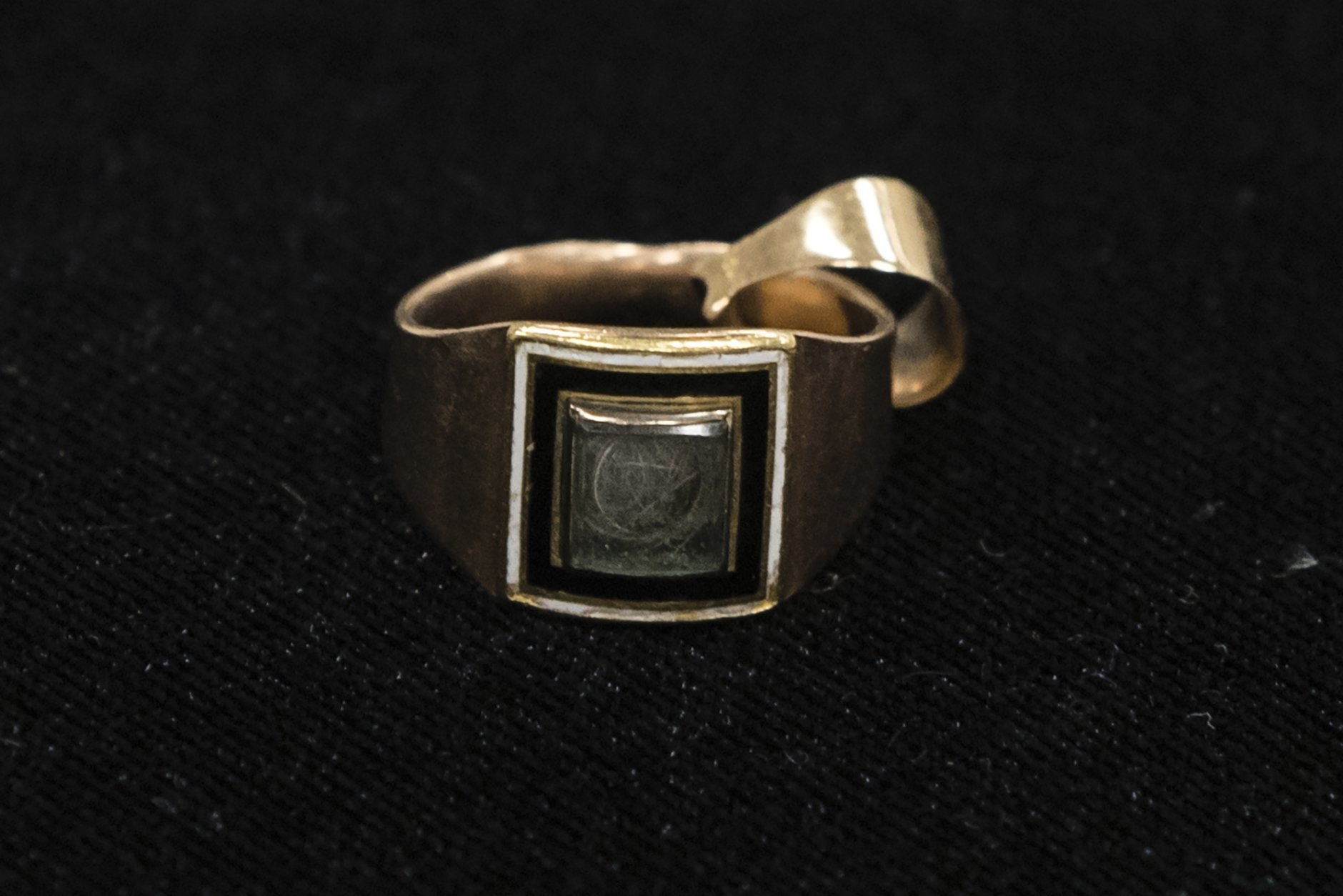 """Shown is Alexander Hamilton's window Elizabeth Hamilton's gold mourning ring with a piece of her late-husband's hair encased under the glass jewel, at the Museum of the American Revolution in Philadelphia, Monday, Nov. 12, 2018. This and other items loaned by the fifth great-grandson of Hamilton will be featured as part of the museum's """"Year of Hamilton."""" (AP Photo/Matt Rourke)"""