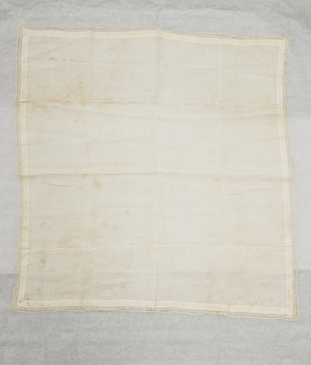 """Shown is Alexander Hamilton's window Elizabeth Hamilton's handkerchief embroidered with her name at the Museum of the American Revolution in Philadelphia, Monday, Nov. 12, 2018. This and other items loaned by the fifth great-grandson of Hamilton will be featured as part of the museum's """"Year of Hamilton."""" (AP Photo/Matt Rourke)"""