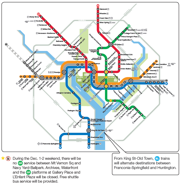Metro Map Arlington Va.Wtop Track Work Guide Yellow Line Shutdown From Nov 26 To Dec 9