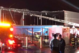 The wall of an Amazon Fulfillment center in Baltimore collapsed during severe weather on Friday, Nov. 2, 2018. (Courtesy Baltimore Fire)
