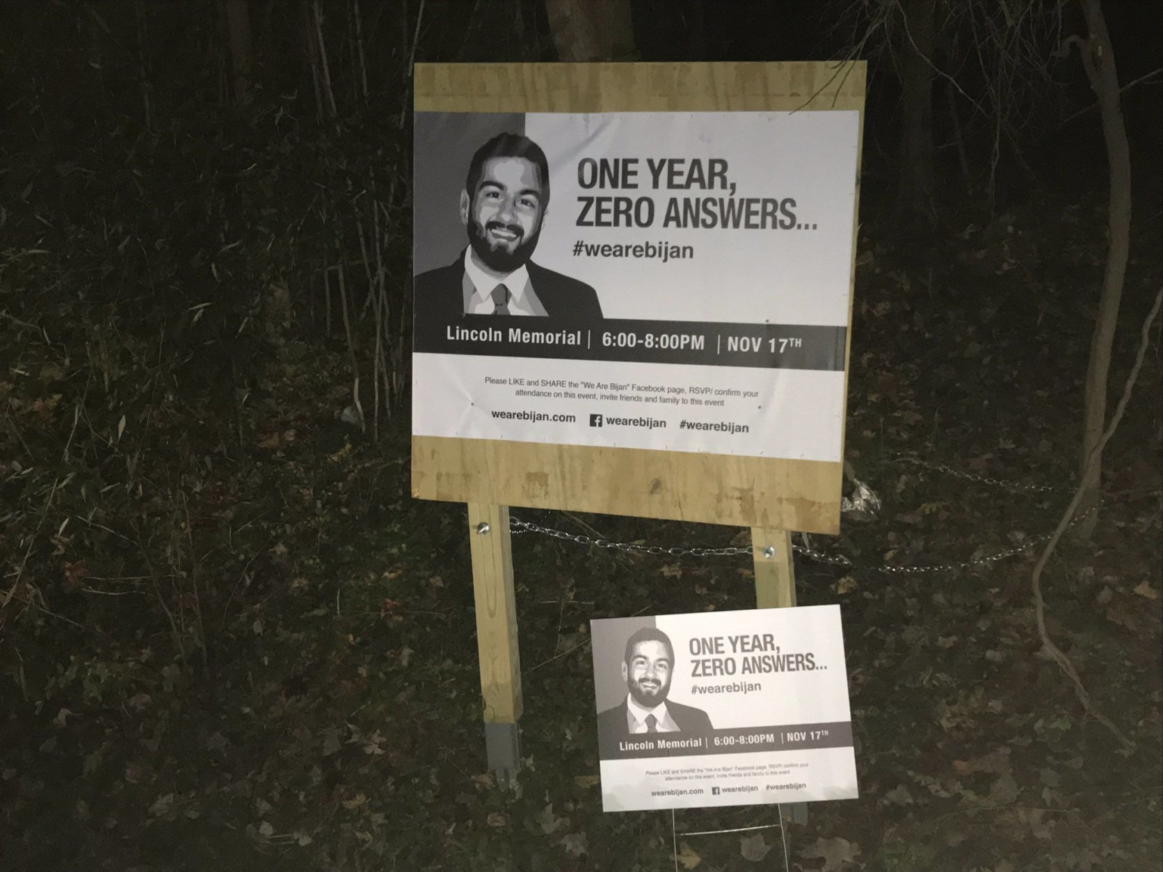 A sign now marks the area where 25-year-old Bijan Ghaisar was fatally shot by U.S. Park Police nearly a year ago, on Nov. 17, 2017. (WTOP/Michelle Basch)